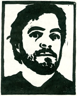 Author Photo linocut